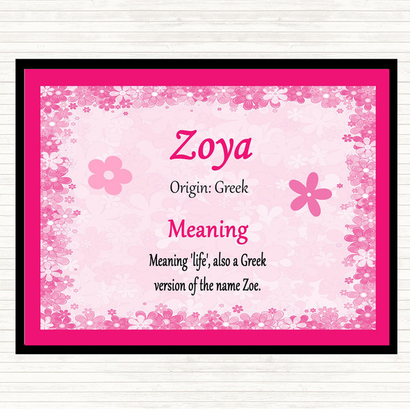 Zoya Name Meaning Mouse Mat Pad Pink