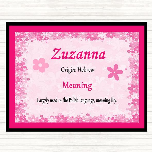 Zuzanna Name Meaning Mouse Mat Pad Pink