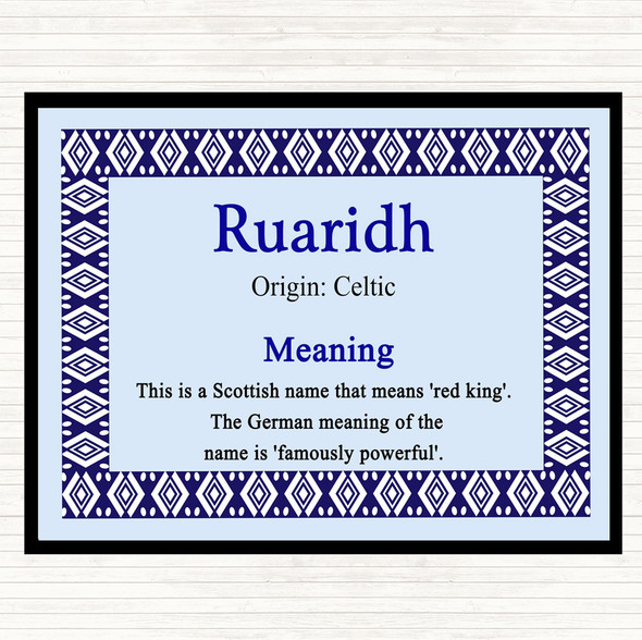 Ruaridh Name Meaning Dinner Table Placemat Blue