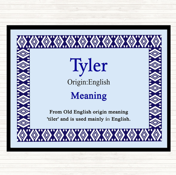 Tyler Name Meaning Dinner Table Placemat Blue