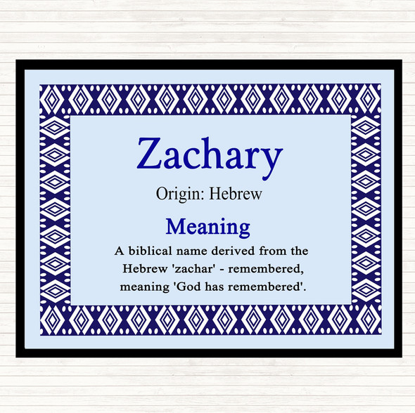 Zachary Name Meaning Dinner Table Placemat Blue
