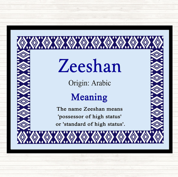 Zeeshan Name Meaning Dinner Table Placemat Blue