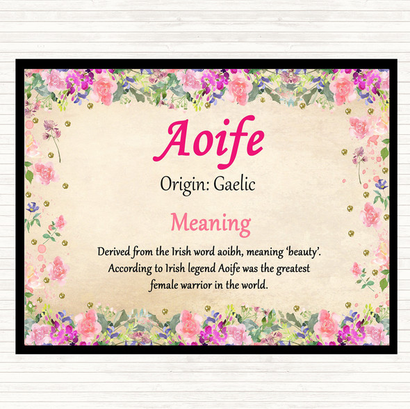 Aoife Name Meaning Dinner Table Placemat Floral