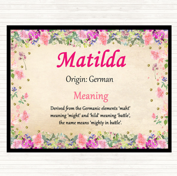Matilda Name Meaning Dinner Table Placemat Floral