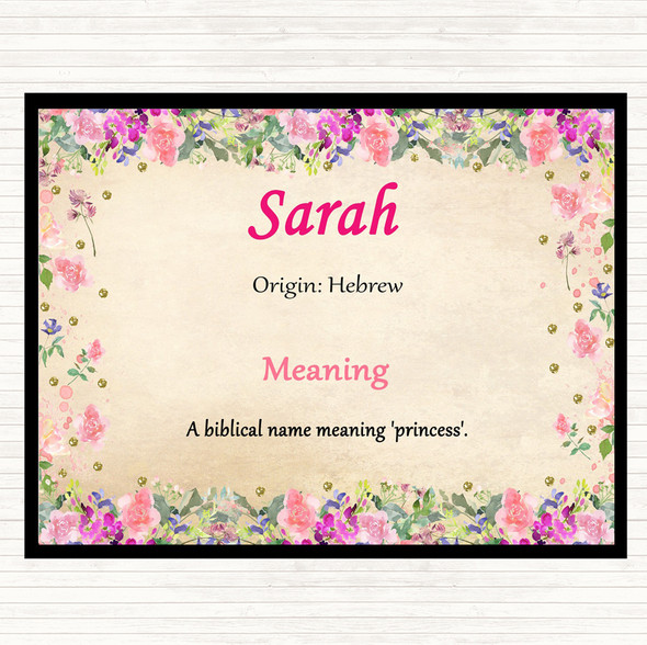 Sarah Name Meaning Dinner Table Placemat Floral