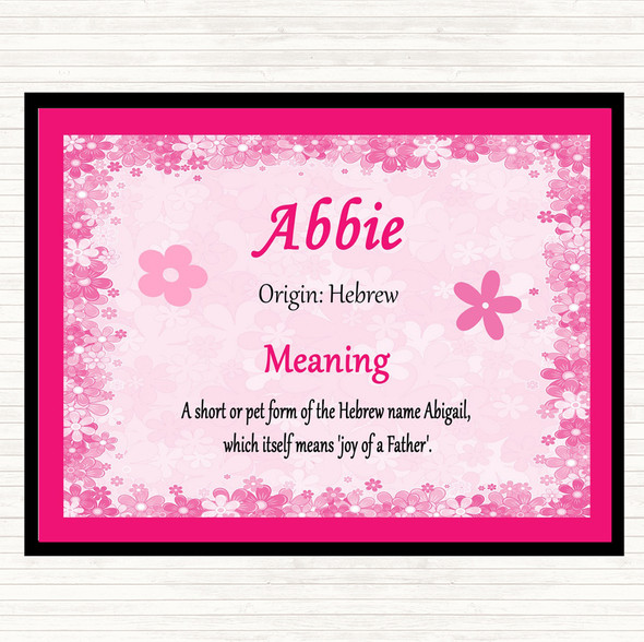 Abbie Name Meaning Dinner Table Placemat Pink