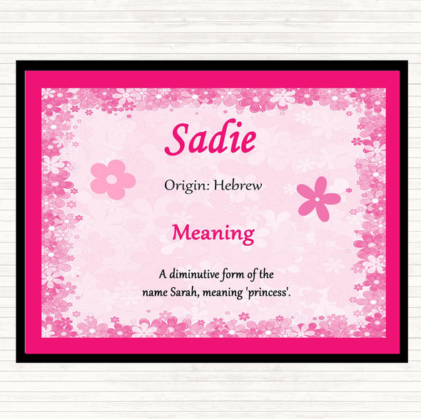 Sadie Name Meaning Dinner Table Placemat Pink