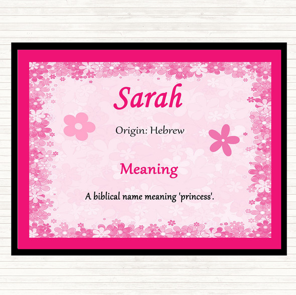 Sarah Name Meaning Dinner Table Placemat Pink