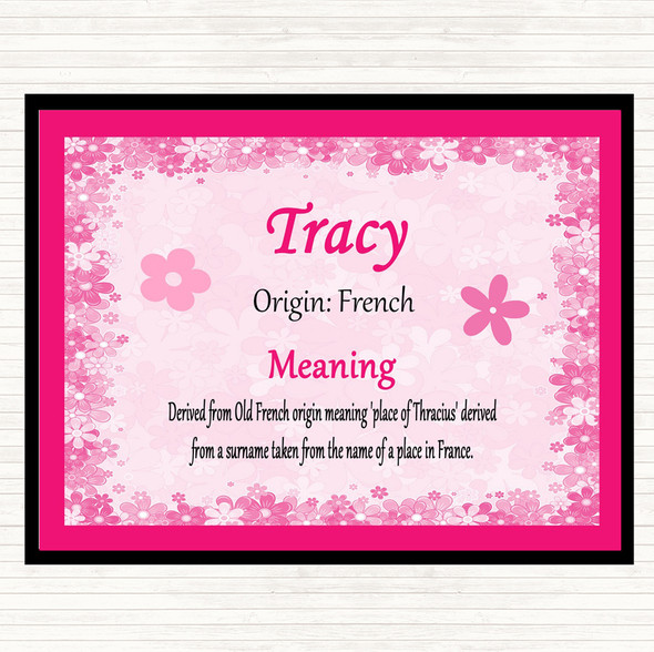 Tracy Name Meaning Dinner Table Placemat Pink