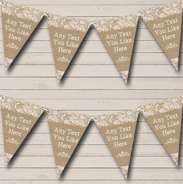 Stunning Burlap & Lace Personalised Engagement Party Bunting