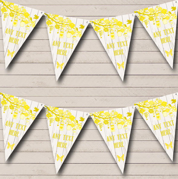 Shabby Chic Vintage Wood Yellow Personalised Engagement Party Bunting