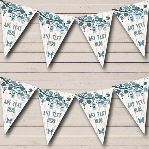 Shabby Chic Vintage Wood Teal Personalised Engagement Party Bunting