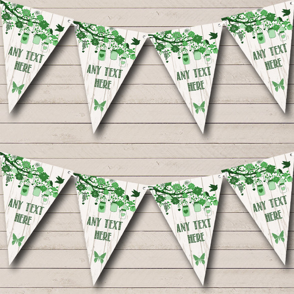 Shabby Chic Vintage Wood Green Personalised Engagement Party Bunting