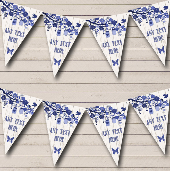 Shabby Chic Vintage Wood Blue Personalised Engagement Party Bunting