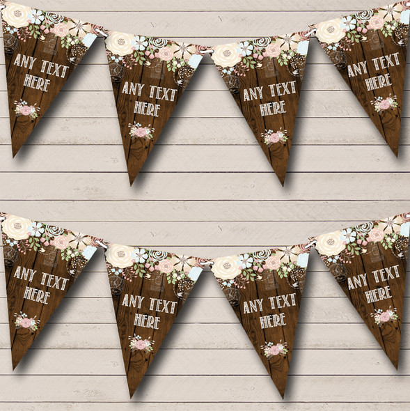 Rustic Wood Floral Personalised Engagement Party Bunting