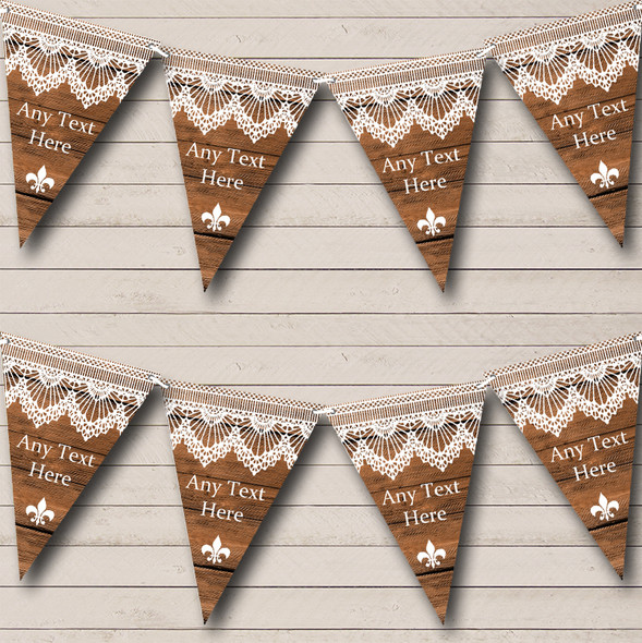 Rustic Wood & Lace Personalised Engagement Party Bunting