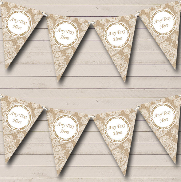 Lace & Burlap Personalised Engagement Party Bunting