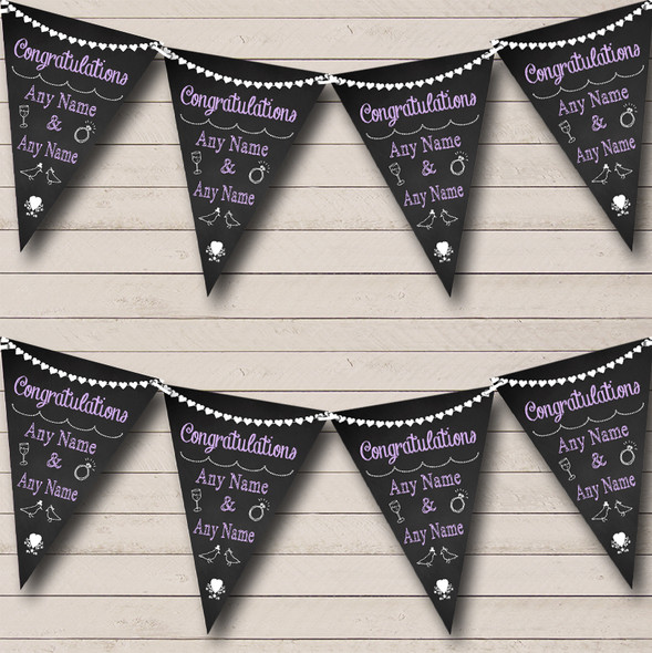 Chalkboard Congratulations Black White & Lilac Engagement Party Bunting