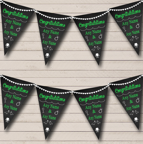 Chalkboard Congratulations Black White & Green Engagement Party Bunting
