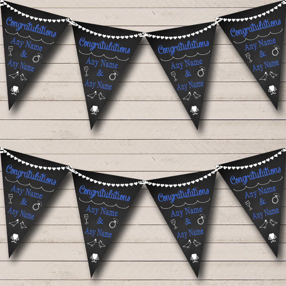 Chalkboard Congratulations Black White & Blue Engagement Party Bunting