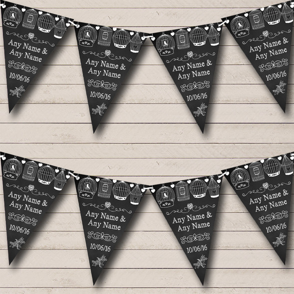 Chalk Shabby Chic Birdcage Personalised Engagement Party Bunting