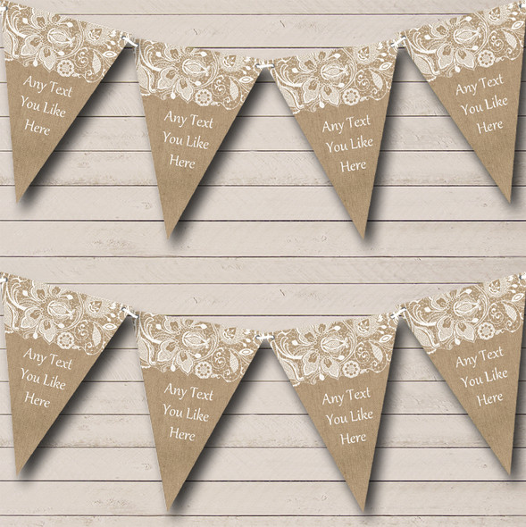 Burlap And Lace Personalised Engagement Party Bunting