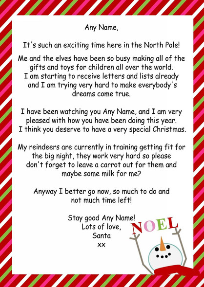 Red Candy Stripe Snowman Personalised Christmas Letter From Santa