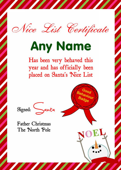 Red Candy Stripe Snowman Personalised Christmas Santa's Nice List Certificate