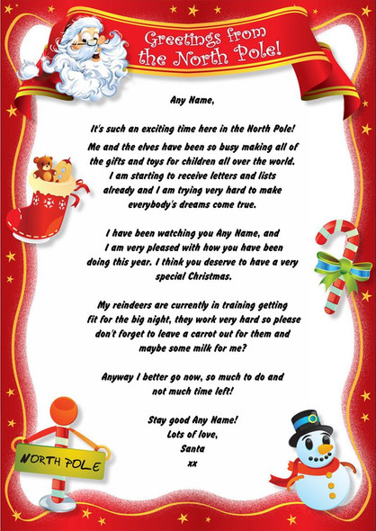 Red North Pole Personalised Christmas Letter From Santa