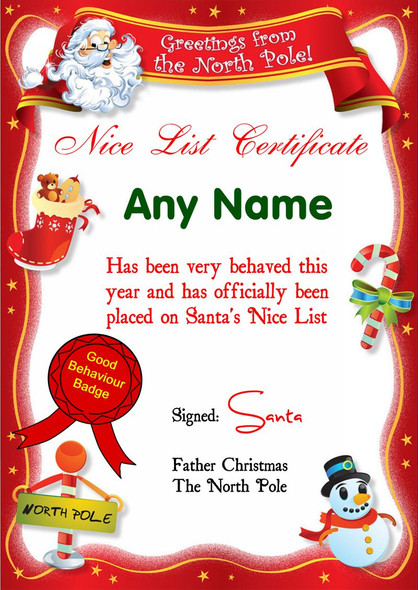 Red North Pole Personalised Christmas Santa's Nice List Certificate