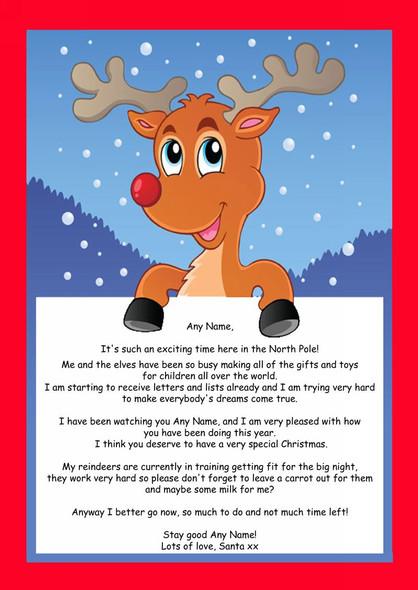 Red Reindeer Personalised Christmas Letter From Santa
