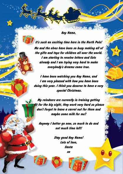 Star Personalised Christmas Letter From Santa