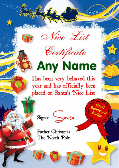Star Personalised Christmas Santa's Nice List Certificate