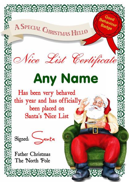 White Santa's Letter Personalised Christmas Santa's Nice List Certificate