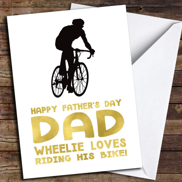 Bike Dad Wheelie Personalised Father's Day Card