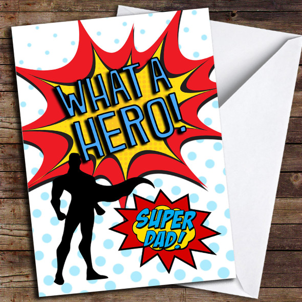 Comic Super Dad Personalised Father's Day Card