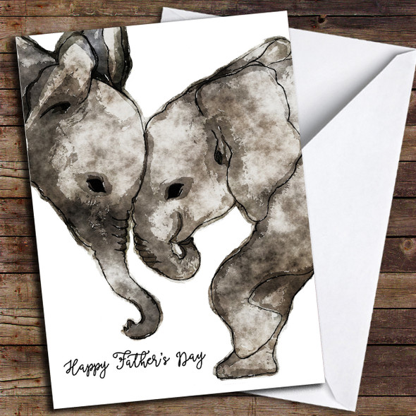 Cute Elephants Watercolour Personalised Father's Day Card