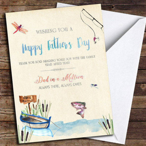 Dad Fishing Beautiful Words Personalised Father's Day Card