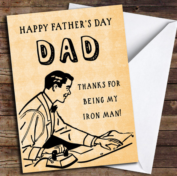 Funny Joke Iron Man Personalised Father's Day Card