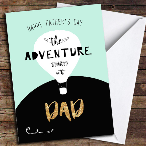 Hot Air Balloon Adventure Dad Personalised Father's Day Card