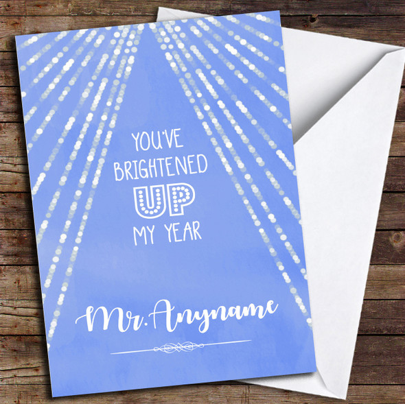 Brightened Up My Year Watercolour Blue Personalised Thank You Card