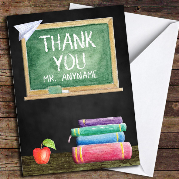 Classic Chalk Board Apple & Books Personalised Thank You Card