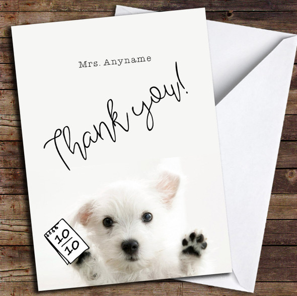 Cute Puppy Thank You Teacher Personalised Thank You Card