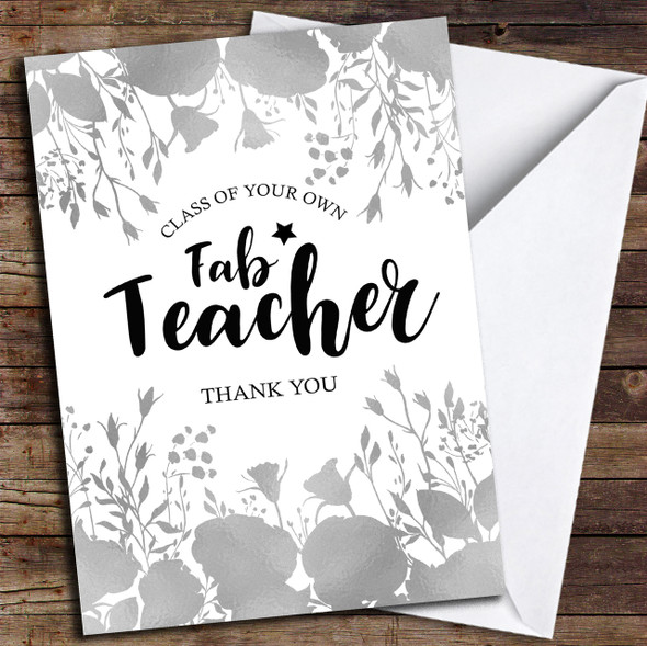 Floral Fab Teacher Personalised Thank You Card