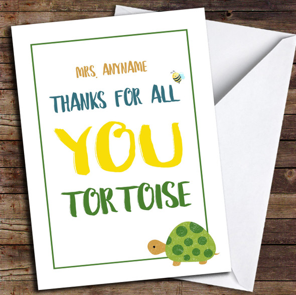 Funny Thank You Tortoise Personalised Thank You Card