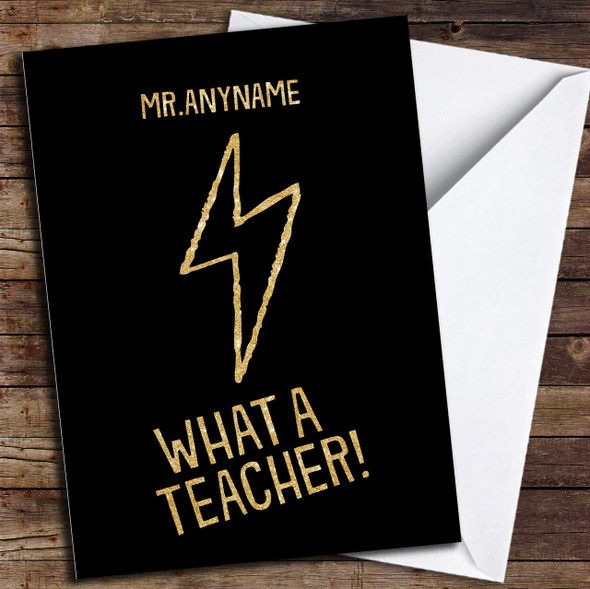 Lightening Bolt Super Teacher Personalised Thank You Card