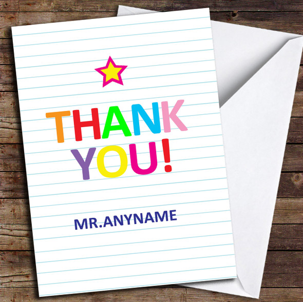 Rainbow Colour Text Star Personalised Thank You Card