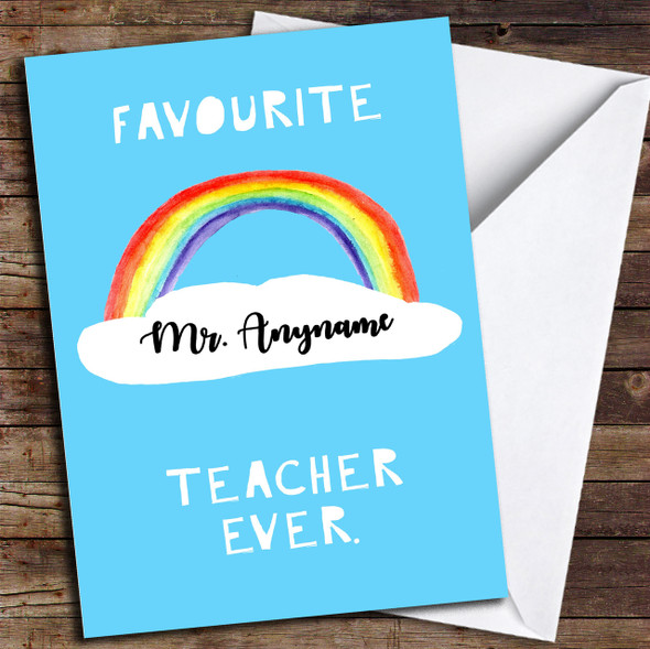 Rainbow Favourite Ever Personalised Thank You Card