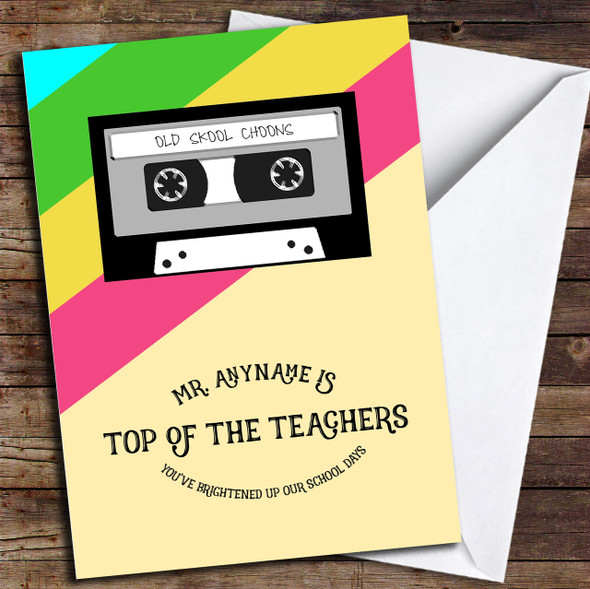 Retro Top Of The Pops Teacher Personalised Thank You Card