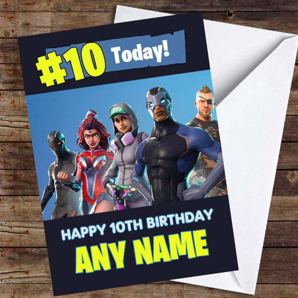 Fortnite Game Battlepass Skins Any Age Personalised Children's Birthday Card